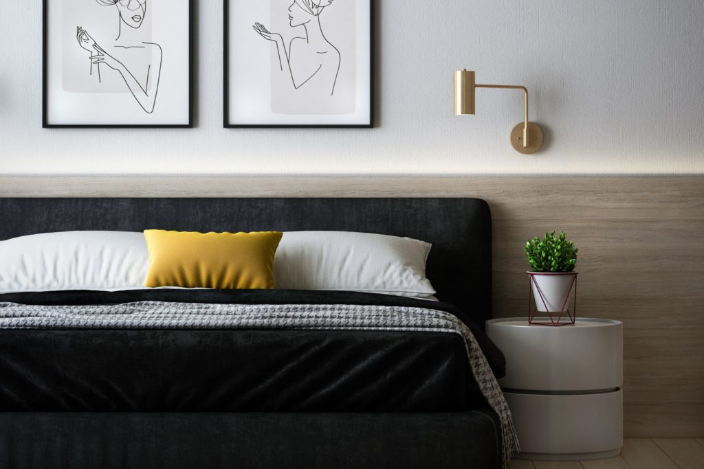 Modern bedroom decor example with strong contrast