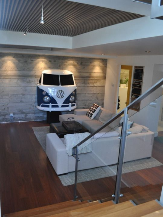 A car front fixed to a wall for a modern wall decor style.