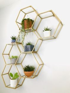 Geometric golden shelves