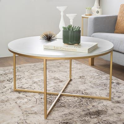 Elegant golden coffee table in a modern home decor