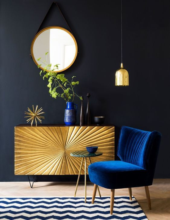 Golden cabinet in a modern living room
