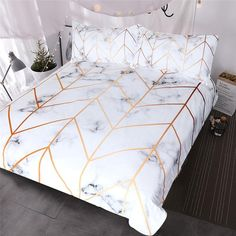 White and golden duvet cover