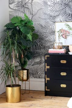 Golden plant cover integrated in a modern home decor