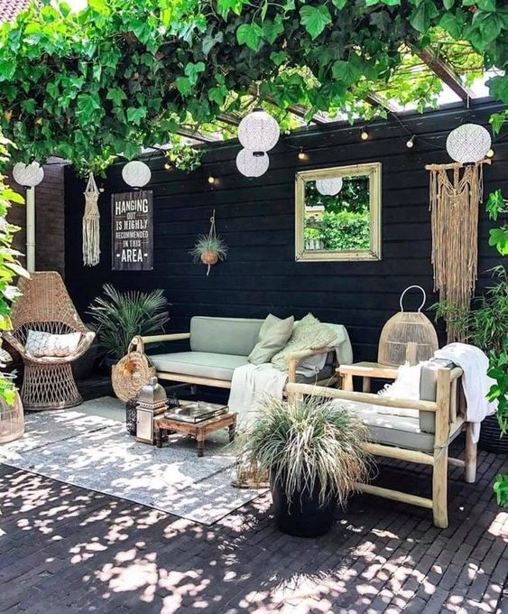 Modern patio decor with a few accents