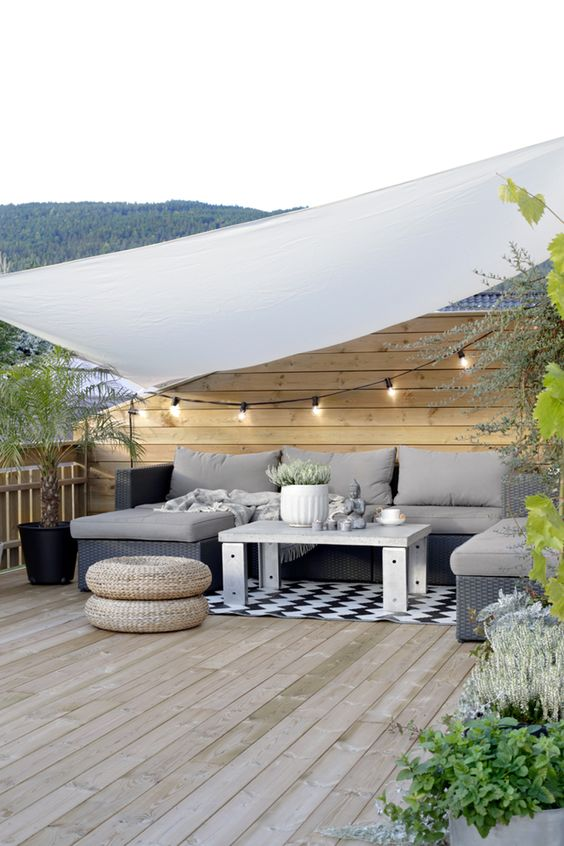 Modern patio decor with triangle curtain