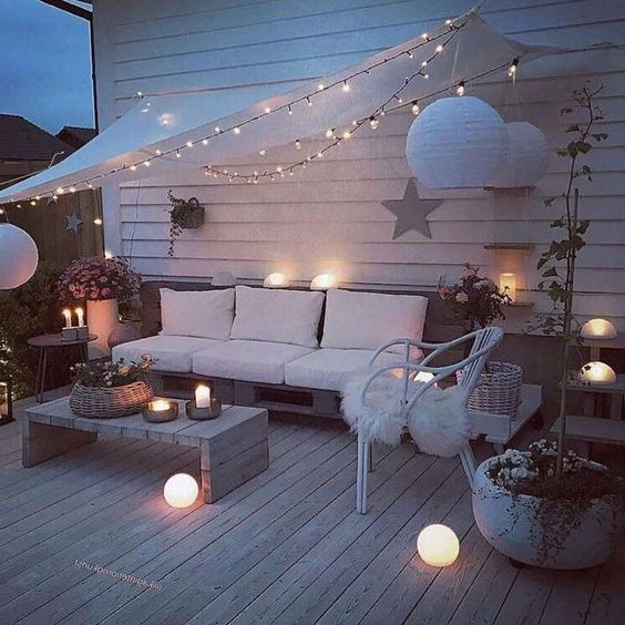 Patio with cozy lighting