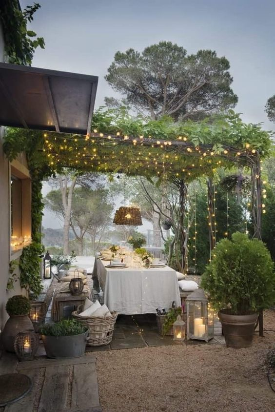 Patio with plants and lights on strings