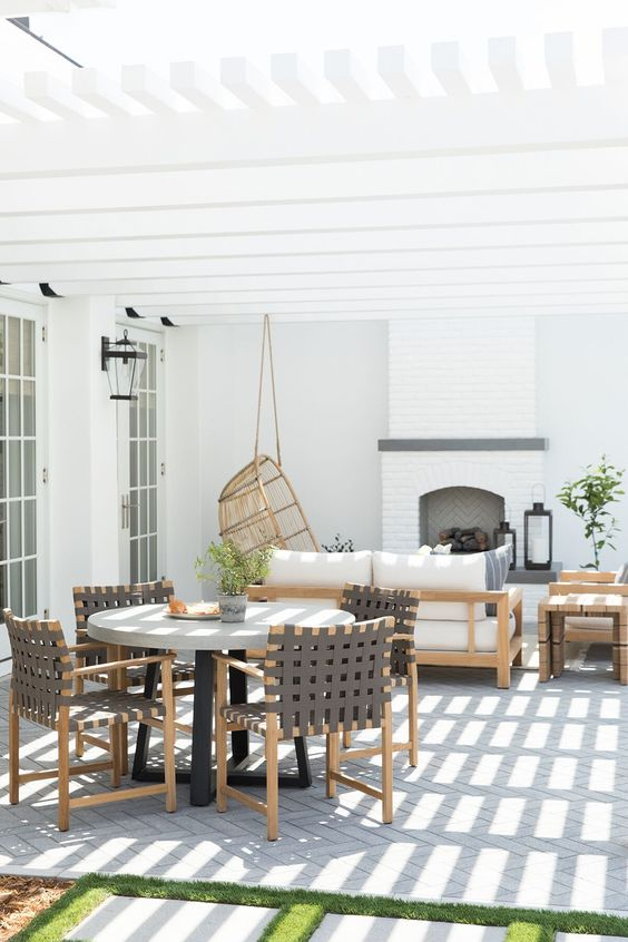 White patio with modern furniture