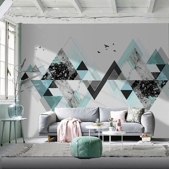 A wallpaper to create a modern decor in a living room