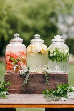 Beverage dispensers on a summer patio table