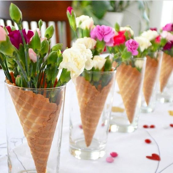 Ice cream cones and flower for a centerpiece
