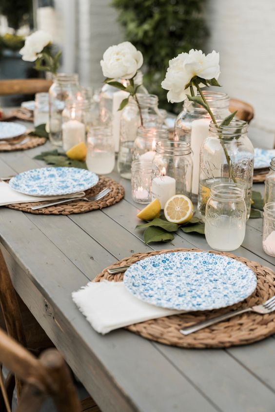 Jars on a summer patio table